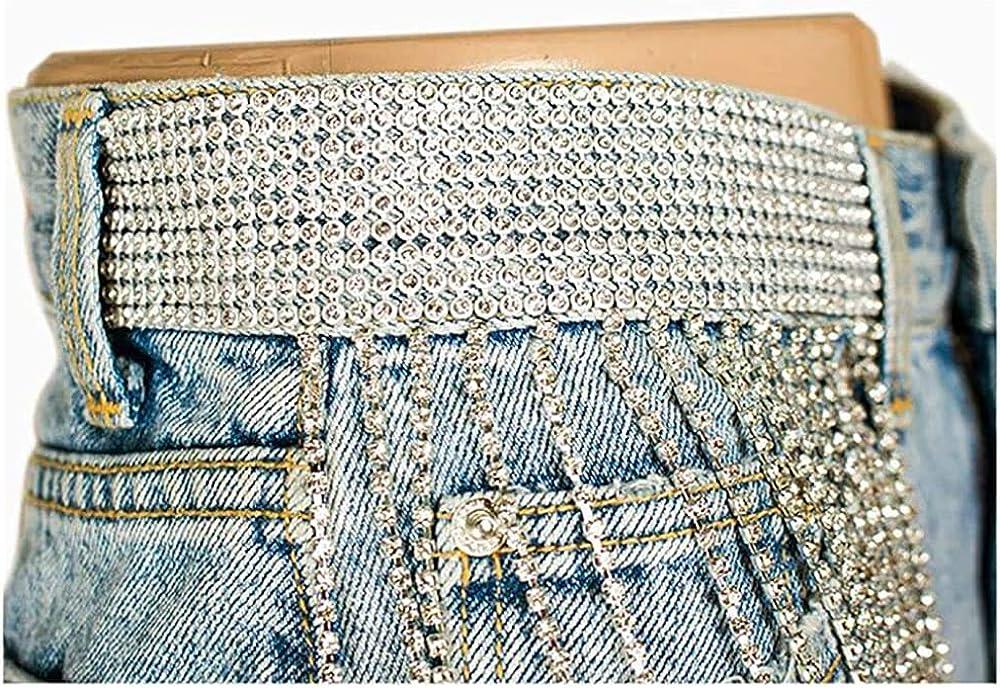 Alilyol Women Tassel Denim Shorts Bling Rhinestone Tassel Denim Shorts Crystal Belt High Waist Short Jean for Women