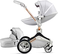 Best Baby Stroller 360 Degree Rotation Function,Hot Mom Baby Carriage Pu Leather Pushchair Pram 2020,Grey Review