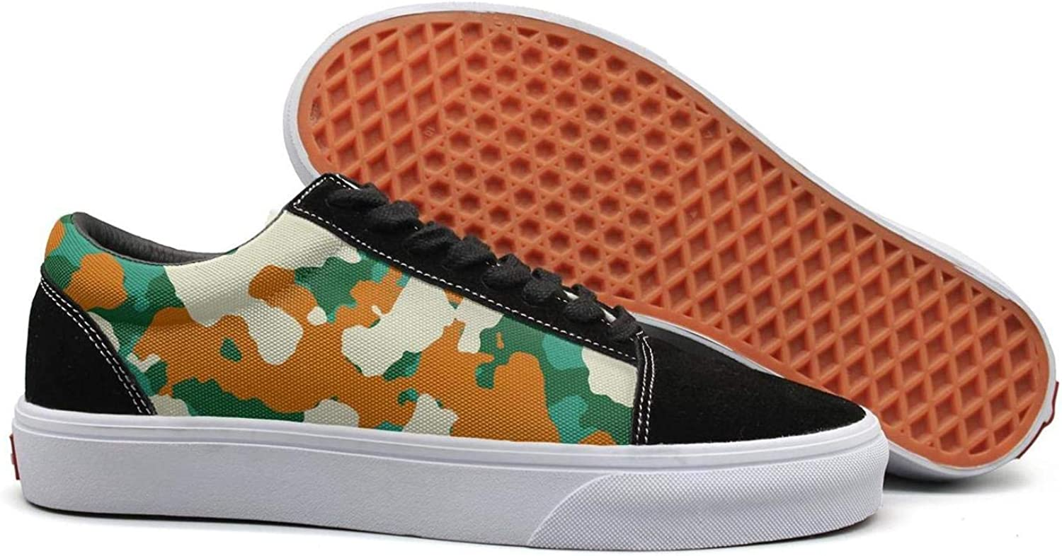 Uieort colorful Leafy Military Camo Womens Lace up Canvas shoes Lightweight