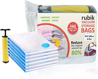 Rubik Space saver Vacuum Storage Bags (Works with Any Vacuum Cleaner + Hand-Pump for Travel) 70% More Compression Than Nor...