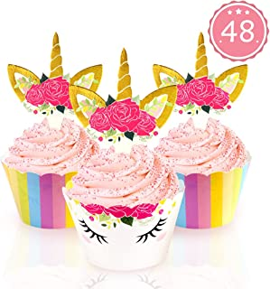 AerWo 48pcs Unicorn Cupcake Toppers + 48pcs Double Sided Paper Cupcake Wrappers for Kids Party Cupcake Decorations