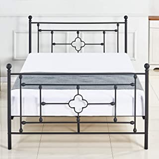DIKAPA Metal Platform Bed Frame Queen Size with Headboard and Footboard 9 Legs Mattress Foundation Heavy Duty Box Spring Replacement for Kids Adult Victorian Style Black
