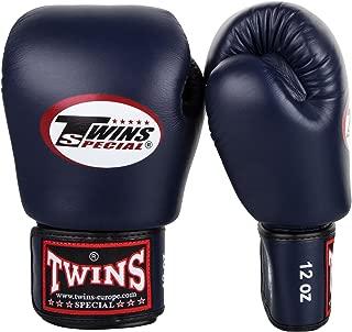 Guantes de boxeo de cuero Twins con velcro largo BG-N negro 8-20 Oz Onzas:14 oz