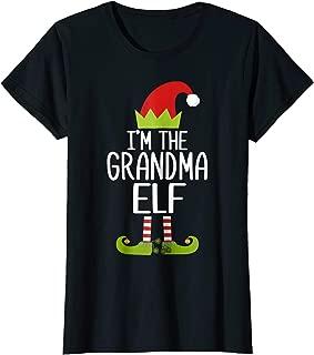 Womens I'm The Grandma Elf Shirt Matching Christmas Family Tshirts