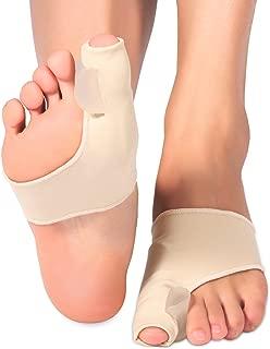 Almohadilla de gel protector de juanetes mangas corrector Pad con gel separador Plancha 2 separadores de dedos espaciadores y botines para Hallux Valgus juanete del dedo gordo del pie alivio del dolor correcta alineación llevar con zapatos 1 par