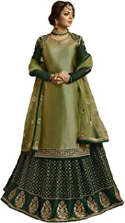 Dhruvil Impex Women's Satin Embroidered Sarara Style Suit with Heavy Dupatta (DILT-3001, Green, Free Size)
