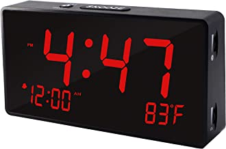 Digital Alarm Clock with Simple Operation, Adjustable Alarm Volume, Full Range Brightness Dimmer, Large 6