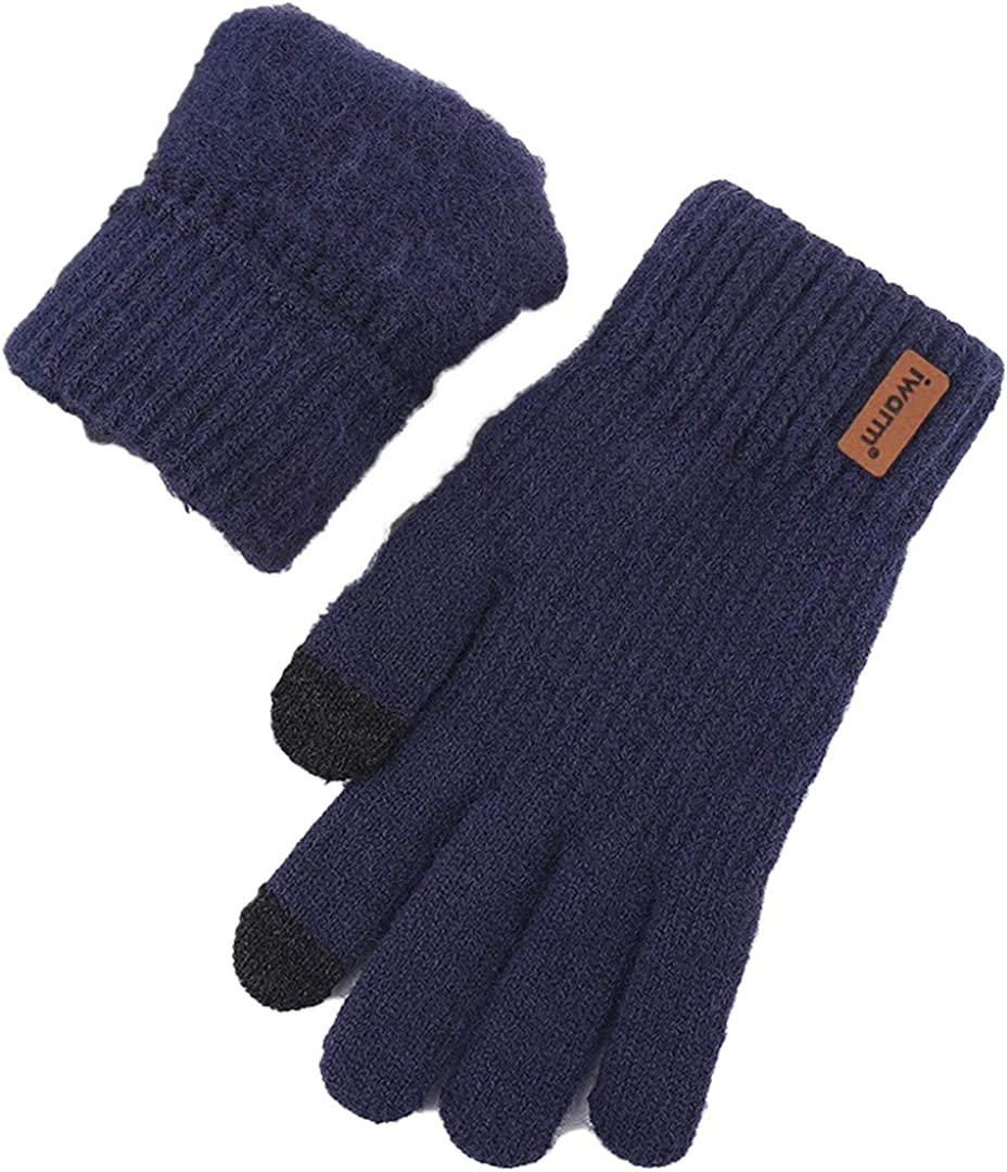 Touch Screen Knitted Gloves Men Women Thicken Wool Mitten Outdoors Anti-Slip Warmer Couple Gloves Solid Stripe navy