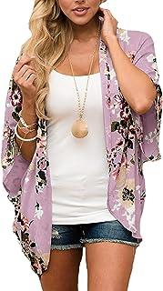 BB&KK Women Floral Kimono Cardigan Loose Half Sleeve...
