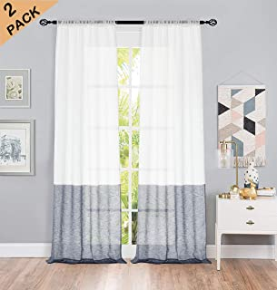 Central Park Color Block Window Curtain Panel Pairs Navy and White Stripe Semi-Sheer Linen Drape Treatment for Bedroom Living Room Farmhouse 108 inches Long with Rod Pocket,2 Panel