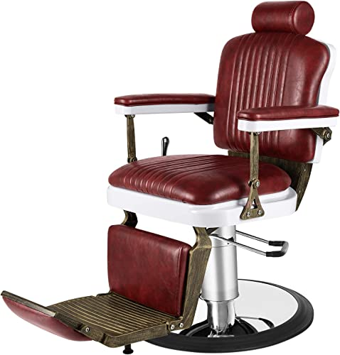 lowest Artist discount Hand Vintage Barber Chair Heavy Duty Barber Chairs Hydraulic Reclining Salon Chair Styling Chair for Salon Equipment online sale Tattoo Chair(Burgundy) online sale