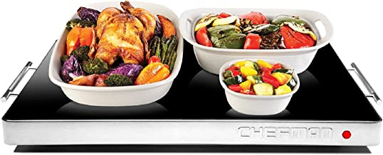 Chefman Electric Warming Tray with Adjustable Temperature Control, Perfect For Buffets, Restaurants, Parties, Events, Home Dinners, Glass Top Large 21