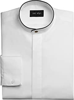 Neil Allyn Men's Dress Shirt Banded Collar with Black Piping