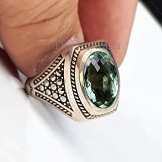 Mens green amethyst ring, handmade 925 sterling silver ring, solid silver signet ring, best ring for father, father day sale, gift for father, mens checker oval prasiolite ring, gift for husband