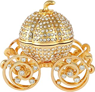 QIFU Pumpkin Carriage Series Enameled Trinket Box Hinged Decorative Collectible Figurine Unique Gift to Store The Ring