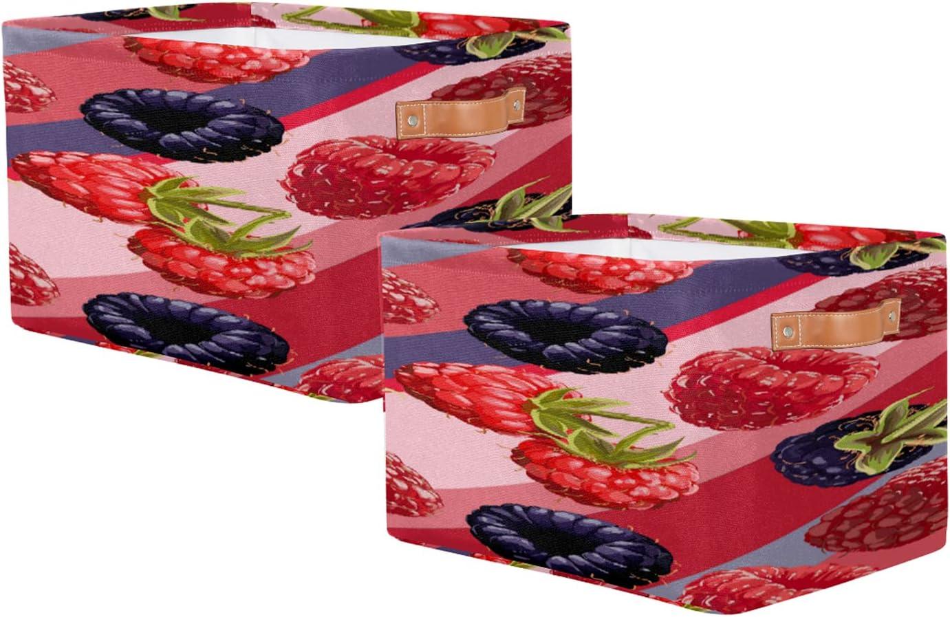 Storage Basket Set of Max 81% OFF 2 Stripe Storag Toy trust Raspberry Rectangular