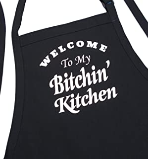 Funny Cooking Aprons Welcome To My Bitchin' Kitchen, Black, Fully Adjustable With Pockets