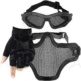 6abd5917d Kit Airsoft Luva Tática Slim Meio Dedo + Óculos Telado + Máscara de Tela -  Preto