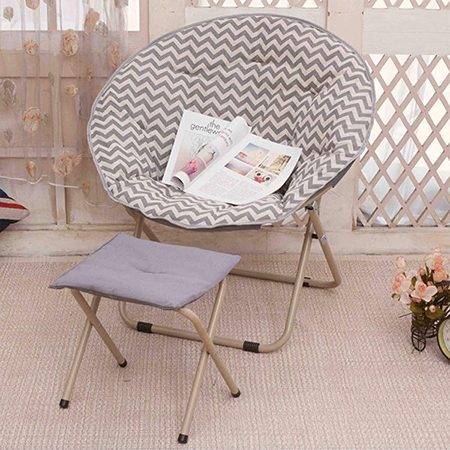 Folding Moon Chair Casual Folding Lazy Chair Living Room Office Bearing Strong (with Footstool) ( color   E )