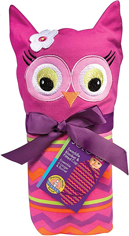Sozo Baby Girls Newborn Girls Owl Swaddle Blanket And Cap Set Pink Purple One Size