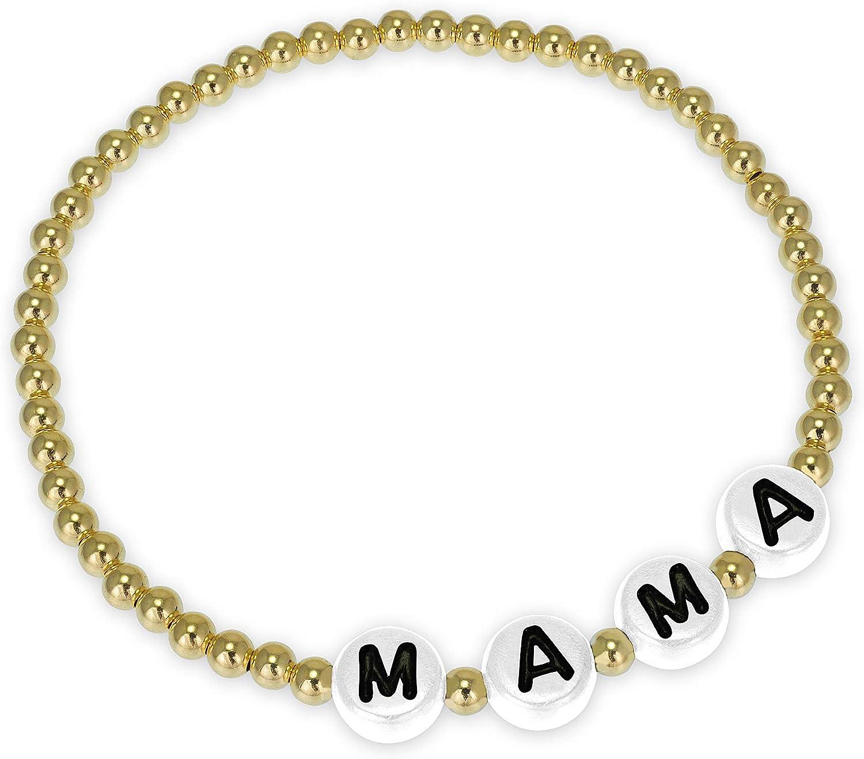 Anela Mama White Beaded New item Bracelet Max 66% OFF Stret Gold Filled 14kt