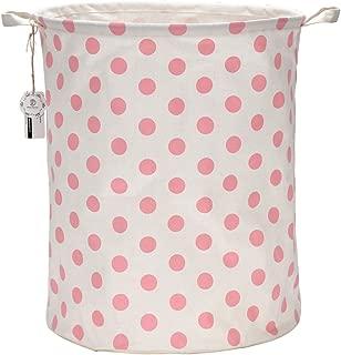 Sea Team 19.7 Inches Large Sized Waterproof Coating Ramie Cotton Fabric Folding Laundry Hamper Bucket Cylindric Burlap Canvas Storage Basket with Stylish Polka Dot Design (19.7