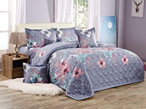 Floral Compressed 6Pcs Comforter Set By Moon, King Size - SXB-079