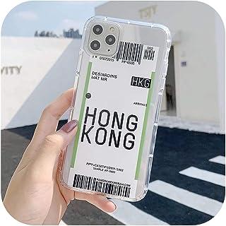 おかしい航空券電話ケースiphone 11プロX Xs最大Xr 8 7 6 s 6プラスニューヨークロサンゼルス飛行機旅行ラベルクリアソフトTPU-Style1-HongKong-For iPhone 7 or 8