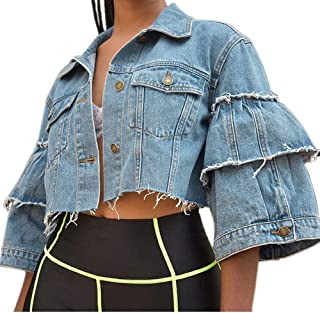 IyMoo Women's Ripped Distressed Casual Long Sleeve Denim Jean Jacket