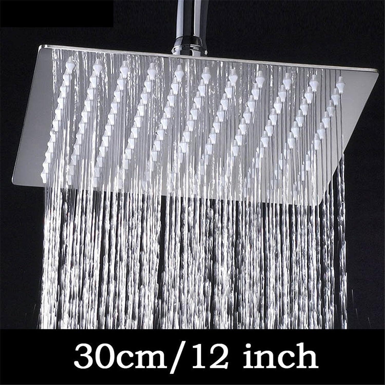 HS-Showen 4 6 8 10 12 Zoll Edelstahl Duschkopf Badezimmer Dusche Wasserhahn Kopf Regen Ultradünne Duschkopf 12 inch Square Style