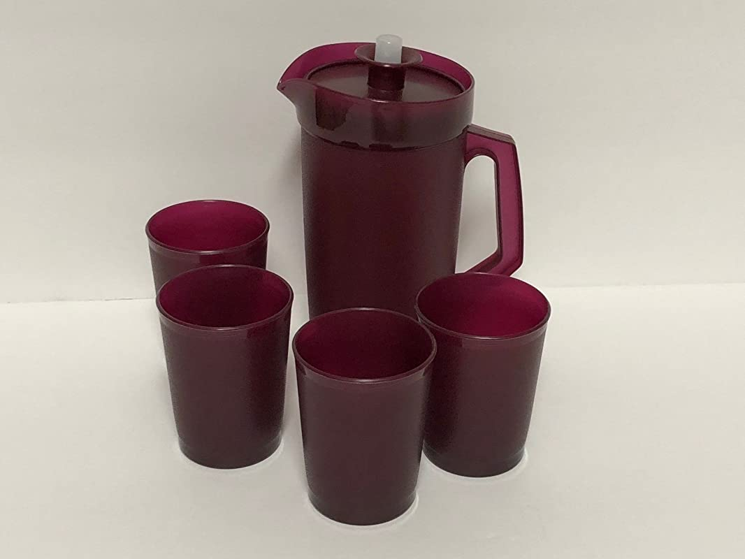 Tupperware Mini Kids Party Beverage Set With Pitcher 4 Tumblers Cups Celebration Merlot