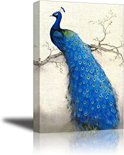Peacock Wall Art Decor for Living Room, PIY Beautiful Oil Painting Canvas Prints of Elegant Proud Peacock on Beige Pictures (1