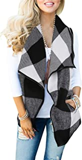 Womens Sleeveless Plaid Vest Lapel Cardigan Open Front Jacket with Pockets