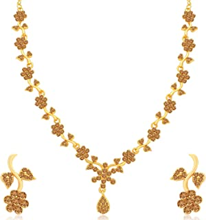 Sukkhi Floral Gold Plated Wedding Jewellery LCT Stone Necklace Set for Women (N79653_D1)