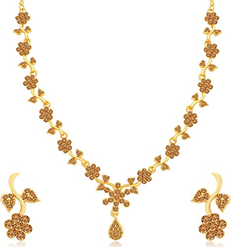 Floral Gold Plated Wedding Jewellery LCT Stone Necklace Set For Women N79653 D1