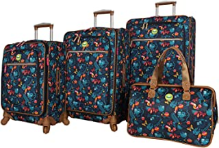 Lily Bloom Luggage Set 4 Piece Suitcase Collection With Spinner Wheels For Woman (Sloth To Me Navy)