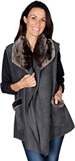 Le Moda Women's Trimmed Fleece Vest - Winter Collection - Fashionable Solid Color Long Fleece Vest for Women