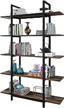 Elegant 5-Tier Vintage Industrial Bookshelf Wood and Metal Bookcase, 71in. H x 13 in. W x 47 in. L Home Office Open Storage Shelves, Oak Brown