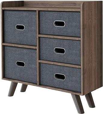 HOOSENG 5 Drawer Dresser Storage, Durable Bedroom Dresser Chest Wood Storage Organizer, Waterproof Fabric Storage Tower, Stor