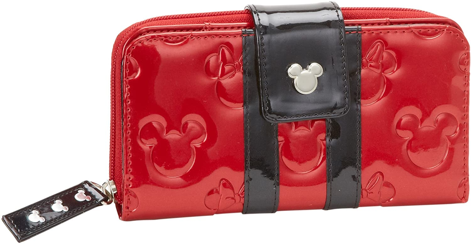 online shop Seattle Mall Disney Mickey and Minnie Embossed Black patent On Red Wallet