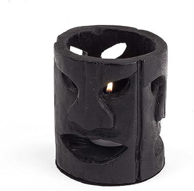 "Design Ideas Tiki Candle Holder 4"" x 4"" x 4.5"" Wood Candle Holder, Matte Black"