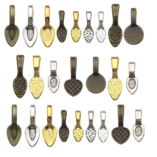 500 MEDIUM Silver Plated AANRAKU Bails Glue on Pendant Tile Bails
