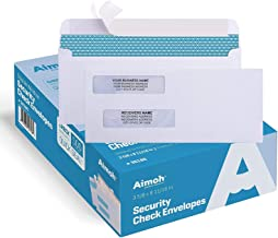 500#8 Double Window Self Seal Security Envelopes - for Business Checks, QuickBooks & Quicken Checks, Size 3 5/8 x 8 11/16 ...
