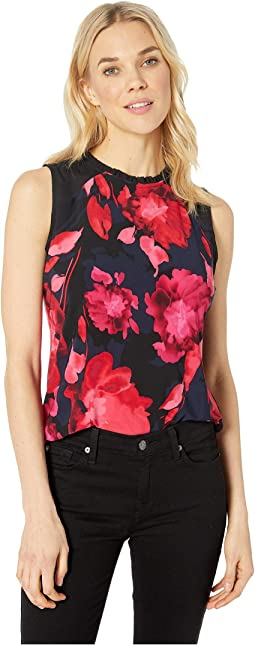 Large Floral Ruffle Neck Knit Top