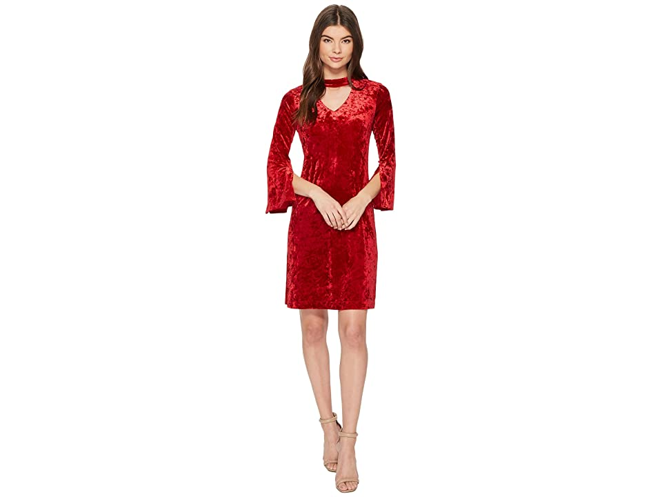 Taylor Cut Out Crushed Velvet Shift Dress (Red) Women