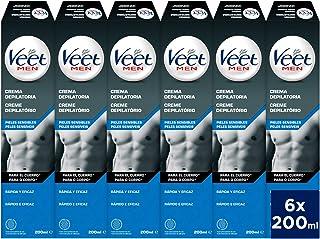 Veet for Men Crema depilatoria corporal para hombre - piel sensible - 6 x 200 ml - hasta 20 semanas de suavidad