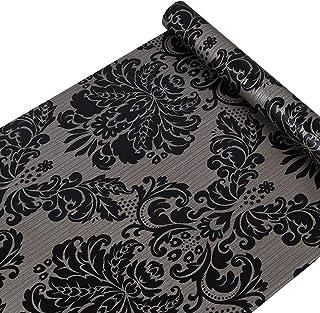 Vinilo autoadhesivo papel de contacto decorativo de Damasco Negro para armarios puerta Victoriano cajón Dresser vinilo adh...