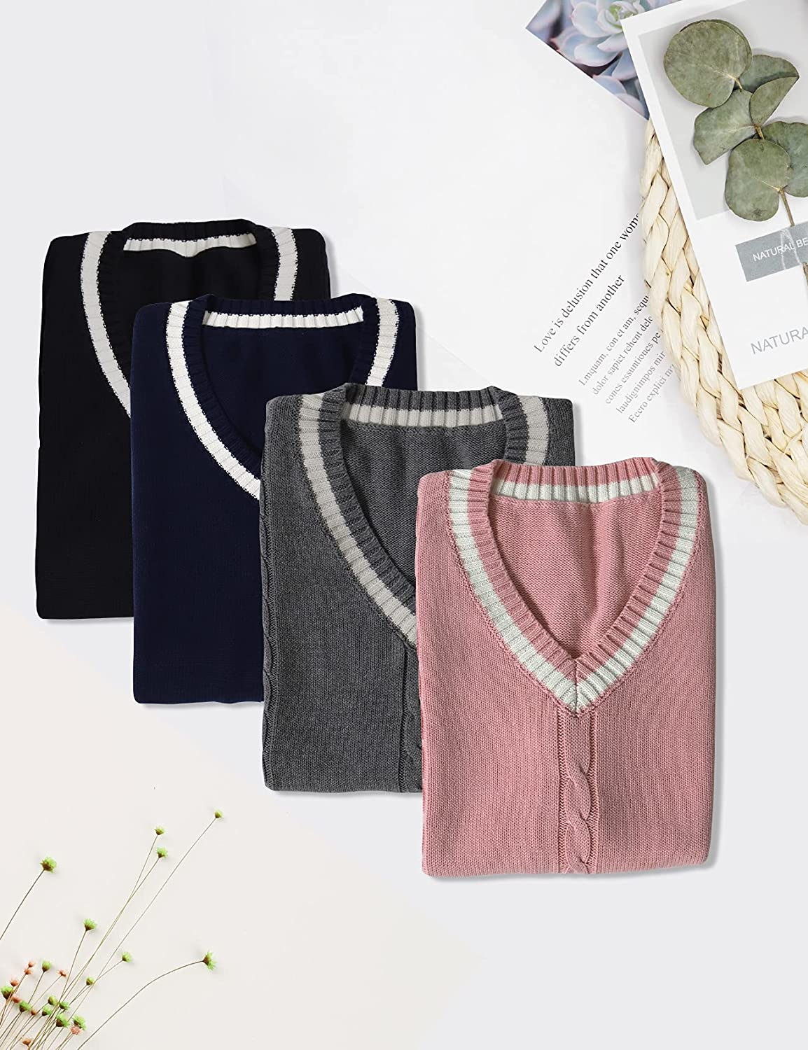 Gihuo Women's V Neck Sweater Vest Uniform Cable Knit Sleeveless Sweater