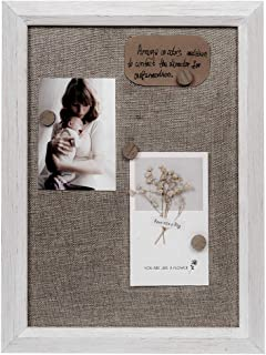 Space Art Deco Magnetic Wood/Fabric Memo Board Frame - Hold Two 4x6 or 5x7 Pictures - Includes Four Magnets - Distressed White Wood Color - Solid Wood Molding - Sawtooth Hanger - Wall Organizer