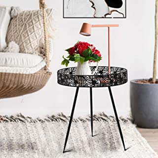 Side Table, Donosura Plant Stand 16 Inch End Tables Indoor Outdoor Metal Accent Tables Cheap for Patio, Living Room, Picni...